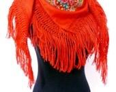 Half Viana's Tradicional folklore scarf  Red (triangle shape)