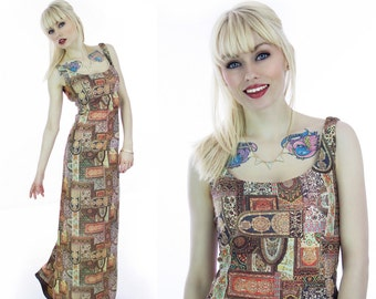 70s Boho Dress Floral Hippie Maxi Abstract Bohemian Hostess Flowers Wallpaper Patchwork Earthtones 60s 1970s Small S