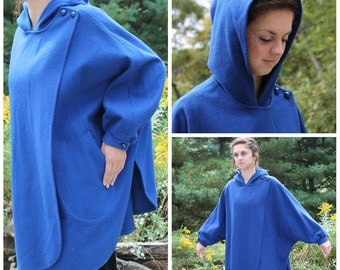 vintage 1980s cobalt blue cocoon coat batwing slouch style with hood one size fits most fall winter