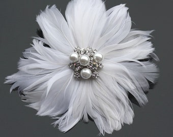 Bridal Feather Fascinator, Wedding Feather Headpiece, Feather Flower Headpiece, Fascinator, Wedding Feather Hairpiece