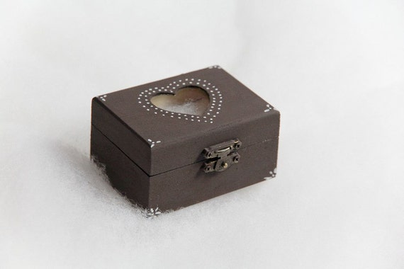 Ebony Ring Bearer Wedding Box -  Pillow Alternative - Jewelry Box - Steampunk Boho Vintage