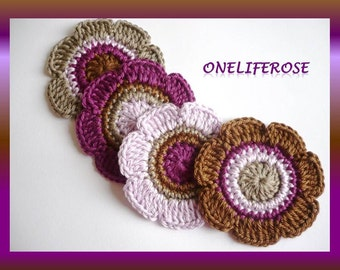 Crochet Flowers 4 piece