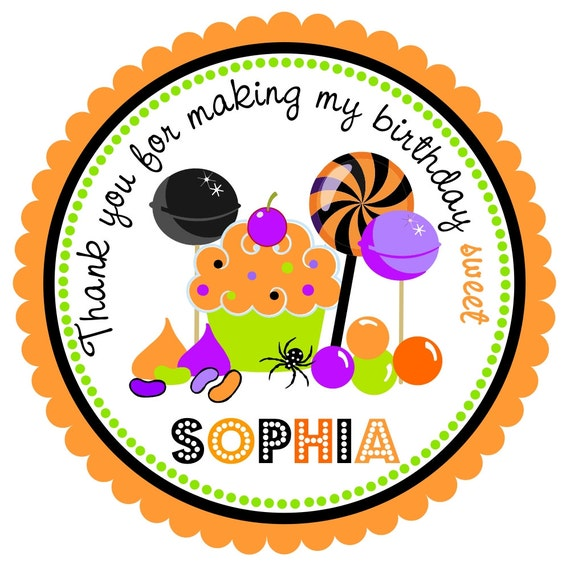 Halloween Stickers, Candyland, Halloween Birthday Party, Personalized Labels, Favor Labels. Treats -Set of 12