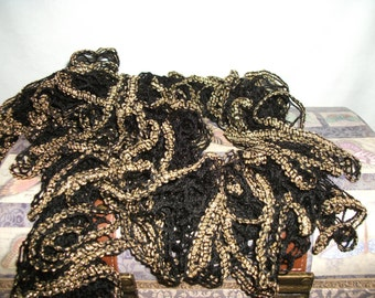 """Knit Ruffle Scarf Black with Gold color 62"""" Long"""