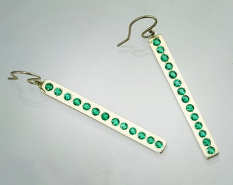 Emerald Row Earrings in 14k White Gold (Made to Order)