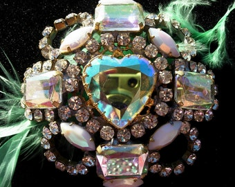 Vintage Pin or Brooch, in White and Aurora Rhinestone Heart Crystals, Signed
