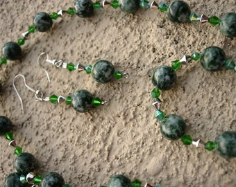 Green Jasper Necklace and Earring Set.