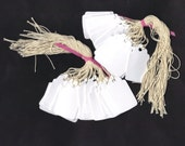 Mini Hang Tags - White or Cream PreStrung Scallop Top Mini Die Cut Tags (50)