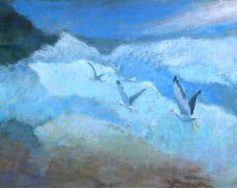 Seashore Surf, Flying Seagulls, Original Pastel Painting, Contemporary Art, Soft Blue Color, Breaking Waves, Soft Pastel Painting,  14 x 19