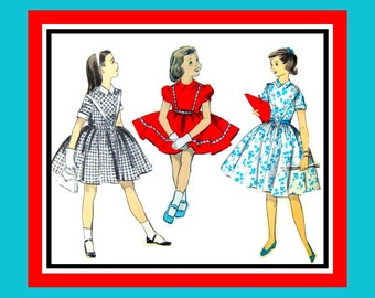Vintage 1950s- Girls Party or Day Dress- Sewing Pattern -Three Style -Unique V Front Panel -Buttons- Full Twirl  Skirt- Uncut -Size 8- Rare