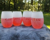 Elements Frosted Etched Stemless Wine Glasses Set Of 4