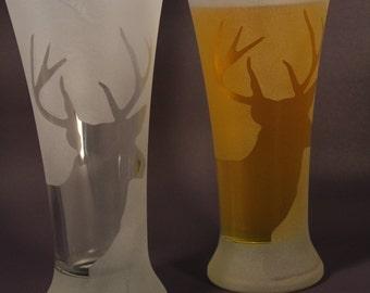 Buck Deer Stag Frosted Etched Pilsner Glasses set of 2
