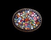 Italian Millefiori Mosaic Belt Buckle