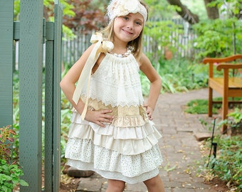 Multi Tiered Dress.. Perfect Flower Girl or Special Occasion dress .. Country Wedding .. Rustic Wedding