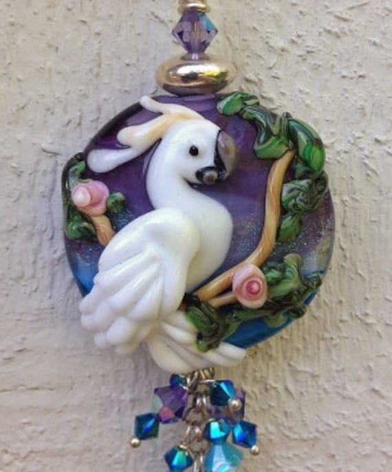 Sulphur Crested Cockatoo handmade lampwork focal parrot bead pendant SRA Sale
