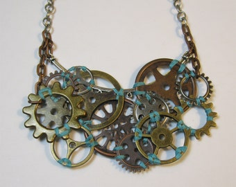 An Arrangement of Cogs - Custom Colors Available - 1 Thread Color Steampunk Necklace