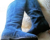 Jack Sprat Boots, Blue Suede Knee High, Vintage 1990's, Fall Accessory, Boho, Size 9 1/2 Like New, Great Condition, Pirate Style, Small Heel