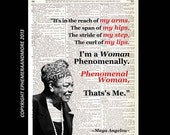 Maya Angelou Phenomenal Woman art print typography quote on upcycled vintage dictionary text book page history literary quote black red 8x10
