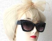 Chiffon Scarf in Cream / Beige Vintage Nylon very Rockabilly, Pin Up. Deadstock 50s / 60s