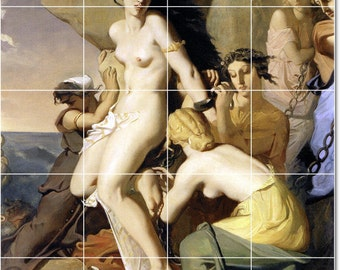 S-M-L-XL Custom Ceramic Mythology Painting Tile Mural. Andromeda Chained To The Rock By Theodore Chasseriau