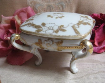 Vintage collectible Imperial Nippon dish, hand painted covered vanity dish or cigarette dish, French cottage pottery