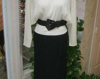 Vintage 80s dolman sleeve black cream dress, crystal pleat beige black body conscious dress, 80s Dynasty style size S dress made USA