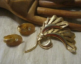 Vintage Brushed polished goldtone gingko leaf pin, brushed goldtone Trifari clip earrings, leaf brooch and clip earrings