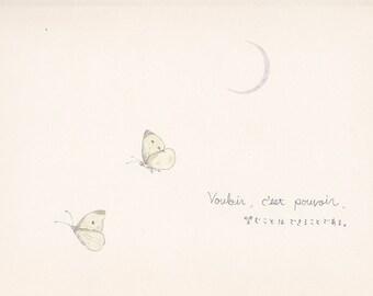 two butterflies - postcard