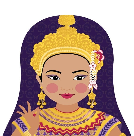 Thai Doll Art Print with traditional dancer dress, matryoshka
