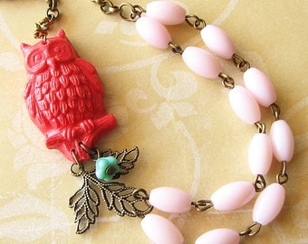 Owl Necklace Owl Jewelry Coral Necklace Bib Necklace Christmas Gift Pink Jewelry