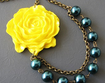 Bib Necklace Statement Necklace Bridesmaid Jewelry Flower Necklace Navy Blue Jewelry Yellow Necklace Gifts For Her