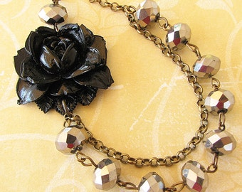Statement Necklace Crystal Necklace Flower Necklace Silver Jewelry Black Necklace Gift For Her Silver Necklace