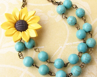 Sunflower Jewelry Sunflower Necklace Beaded Necklace Turquoise Jewelry Bridesmaid Gift