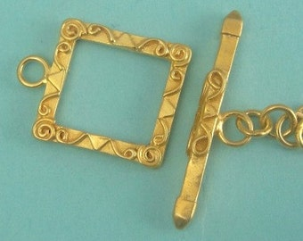 Bali Vermeil Toggle Clasp, 24k Gold over 925 Sterling Silver, Square Ornate Toggle, 16mm
