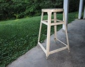Vintage 1930s/40s Sturdy Painted White Metal Industrial Stool
