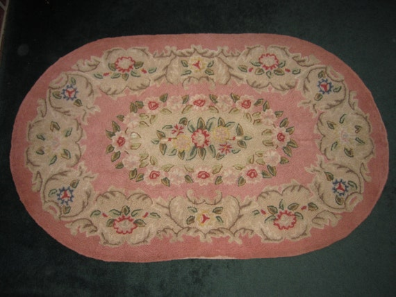 Vintage Lovely Large 34x56 Cotton Oval Hooked Dusty Rose And