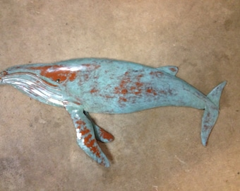 Humpback Whale Fish Sculpture 30in long Tropical  Coastal Beach Metal Wall Art