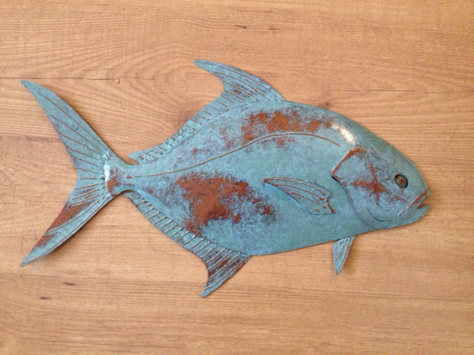 Pompano fish wall sculpture 24in tropical coastal beach for Fish wall sculptures