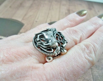 Silver Horse and Rhinestone Ring, Cowgirl Ring, Stretch Band Ring, Women's Silver Ring, Horse Ring, Western Jewelry