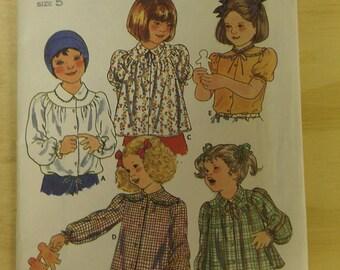 Girls Yoke Smock Top with Sleeve options 5 Butterick 6306