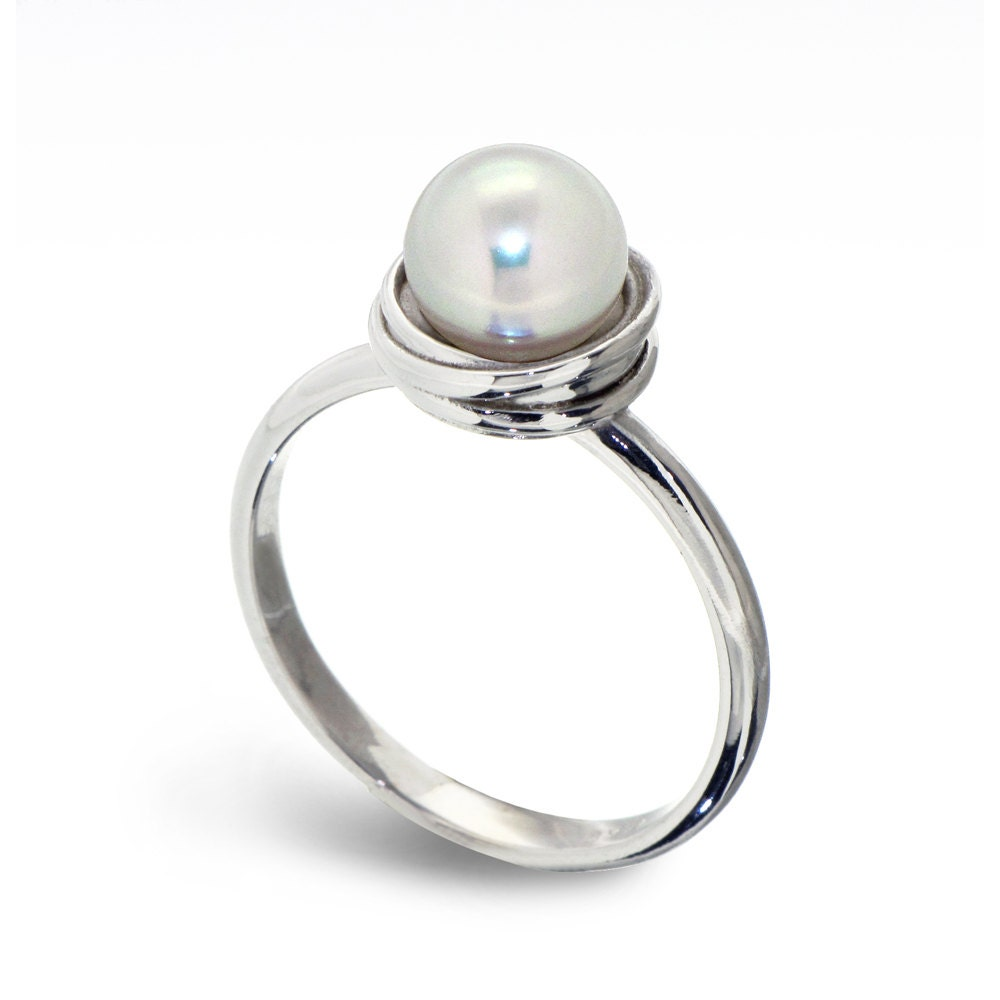 Pearl Wedding Ring: GOLDEN NEST 14K White Gold Pearl Ring Pearl Engagement Ring