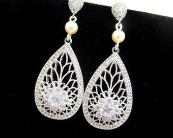 Crystal Bridal earrings, Pearl Wedding earrings, Bridal jewelry, Art Deco earrings, Teardrop crystal earrings, Vintage bridal earrings