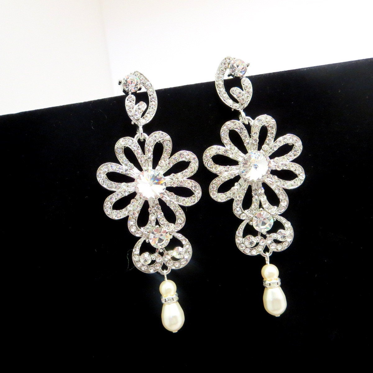 bridal chandelier earrings wedding earrings rhinestone