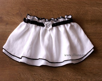 White & Black Loose Girl Skirt with Crochet Flower