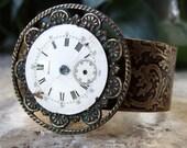 Etched Brass Cuff Steampunk Watch Face