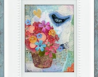 Art prints- wall art- illustration print- blackbird print