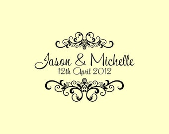 Custom Wedding Stamp - Custom Rubber Stamp - Personalized Stamp - Custom Stamp - Digital file W12