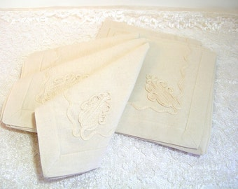 Vintage Appliqued Cotton Napkins Set Of Six