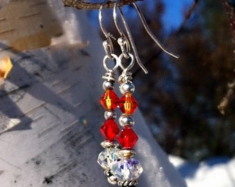 Red Hot, Chilli Pepper, Brilliant  Colored, Crystal Earrings, Sterling Silver
