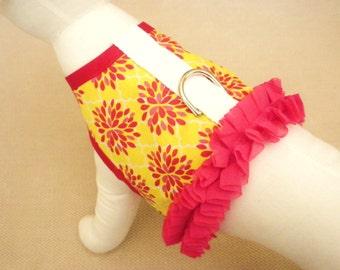 Yellow Flower Burst Pink Ruffle Dog Harness Vest